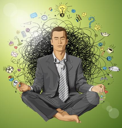 meditating: Relax concept. Vector businessman in lotus pose meditating