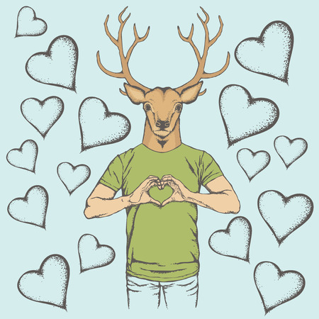 rein: Deer Valentine day vector concept. Illustration of deer head on human body. Rein deer showing heart shape