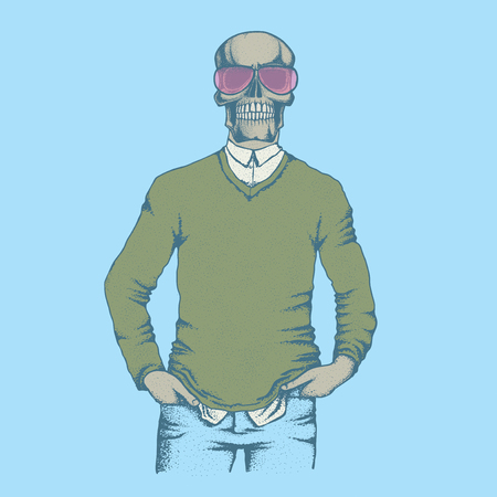 Vector skull illustration. Hand drawn skull. Skull human in sweatshirt