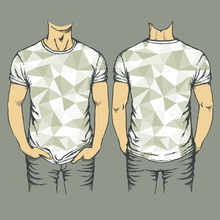 t shirt model: Vector gray t-shirts templates. Set of gray templates t-shirts Illustration