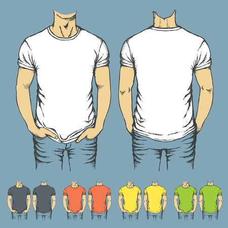 t shirt model: Vector set of t-shirts templates. Set of templates t-shirts