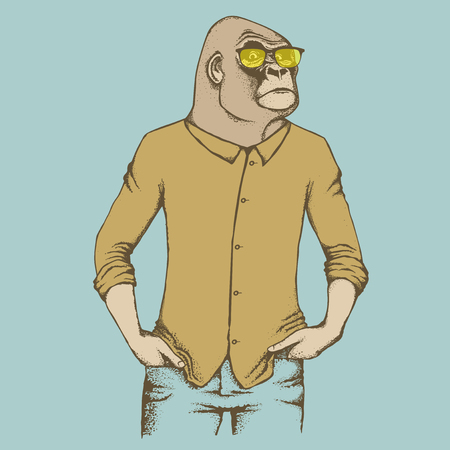 monkey suit: Monkey vector concept. Illustration of African gorilla in human suit. The most dangerous ape and biggest monkey