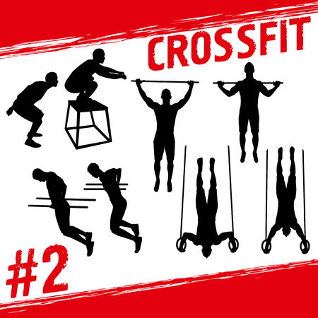 Crossfit concept. Vector silhouettes of people doing fitness and crossfit workouts in many different position.