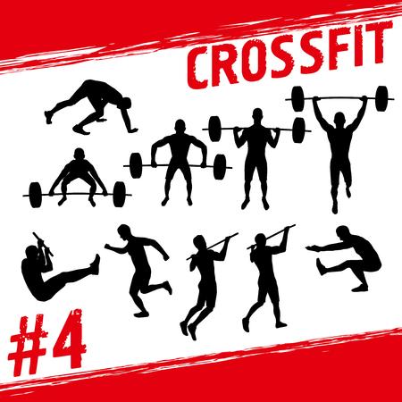 Crossfit concept. Vector silhouetten van mensen die geschiktheid en CrossFit trainingen in veel verschillende posities. Actief en gezond leven concept