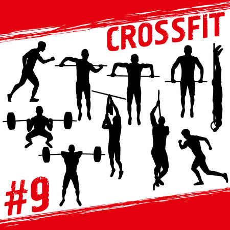 snatch: Crossfit concept. Vector silhouettes of people doing fitness and crossfit workouts in many different position. Active and healthy life concept