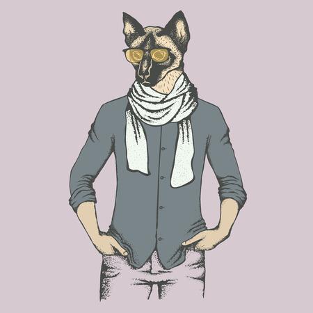 Cat vector illustration. Cat in human suit