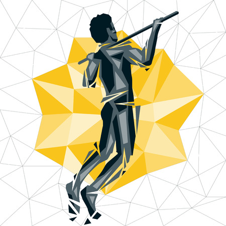 Geometric Crossfit concept. Standard Pull-up. Vector silhouette of man doing fitness and crossfit.