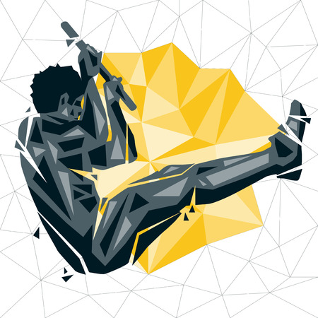 Geometric Crossfit concept. L Pull up on bar. L sit. Vector silhouette of man doing fitness and crossfit. Active and healthy life concept