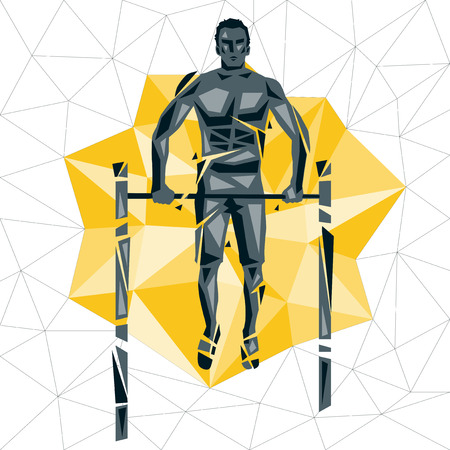 Geometric Crossfit concept. Bar Muscle up. Vector silhouette of man doing fitness and crossfit. Active and healthy life concept
