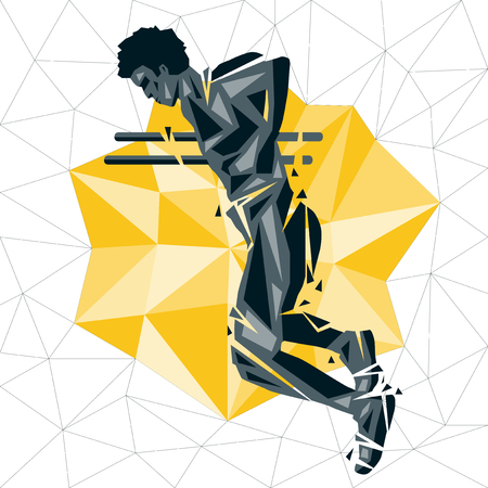 dipping: Geometric Crossfit concept. Dip. Vector silhouette of man doing fitness and crossfit. Active and healthy life concept Illustration