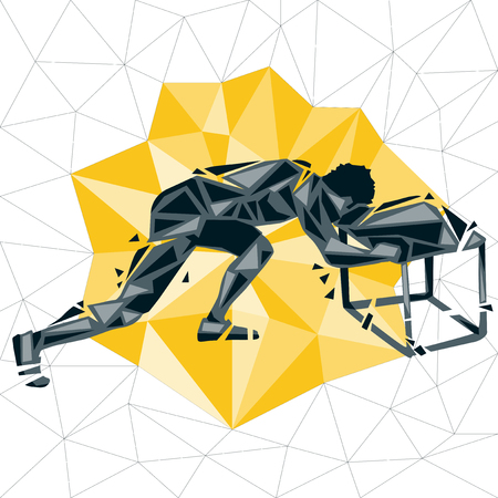 Geometric Crossfit concept. Vector silhouette of man doing fitness and crossfit. Active and healthy life concept Illustration