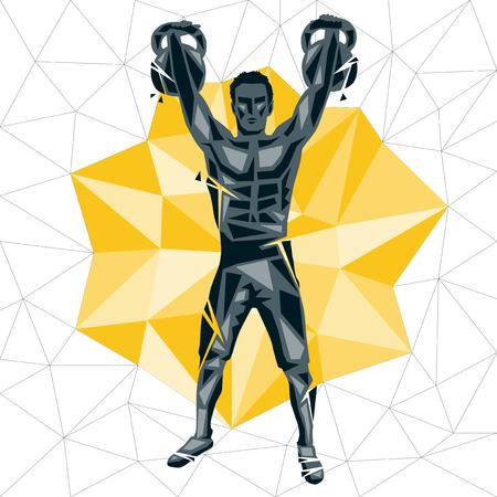 Concepto geométrico de Crossfit. Los agricultores caminan. Vector silueta de hombre haciendo fitness y crossfit. Concepto de vida activa y saludable