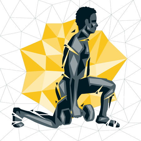 Geometric Crossfit concept. Walking Lunges. Vector silhouette of man doing fitness and crossfit. Active and healthy life concept Illustration