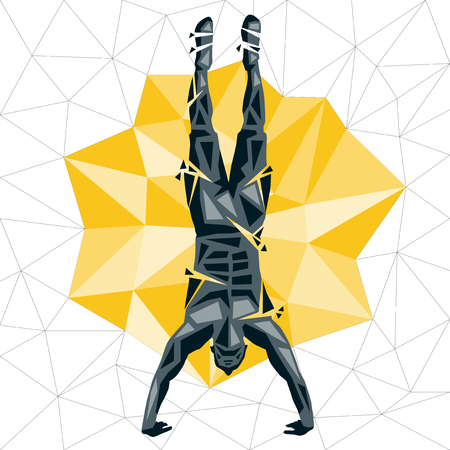 Geometric Crossfit concept. Handstand Push up. Vector silhouette of man doing fitness and crossfit. Active and healthy life concept