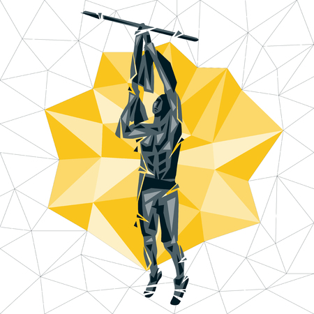Geometric Crossfit concept. Towel Bar Muscle up. Vector silhouette of man doing fitness and crossfit. Active and healthy life concept