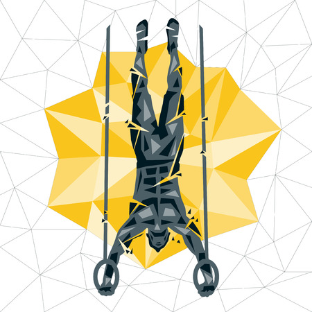Geometric Crossfit concept. Handstand push up rings. Vector silhouette of man doing fitness and crossfit. Active and healthy life concept