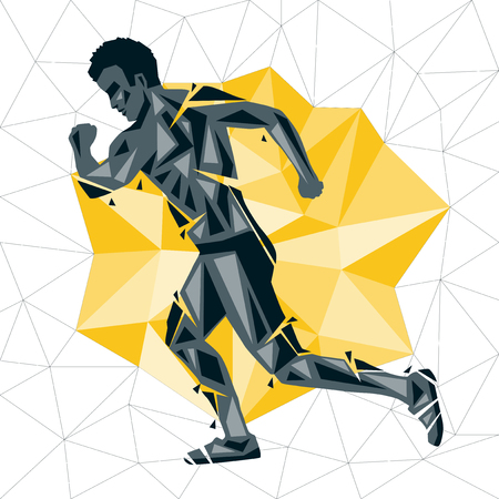 Geometric Crossfit concept. Run. Vector silhouette of man doing fitness and crossfit. Active and healthy life concept Illustration