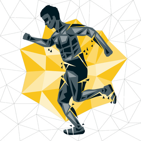 Geometric Crossfit concept. Run. Vector silhouette of man doing fitness and crossfit. Active and healthy life concept Çizim