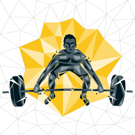 Geometric Crossfit concept. Deadlift push press. Vector silhouette of man doing fitness and crossfit. Active and healthy life concept