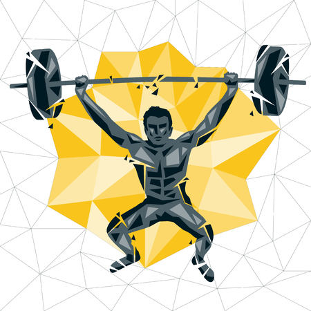 functional: Geometric Crossfit concept. Deadlift push press. Vector silhouette of man doing fitness and crossfit. Active and healthy life concept Illustration