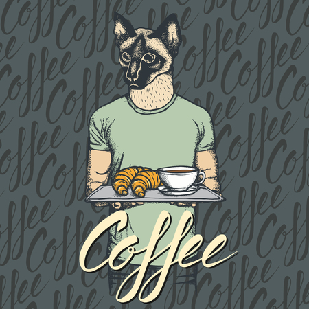 cat suit: Breakfast vector concept. Illustration of cat with croissant and coffee