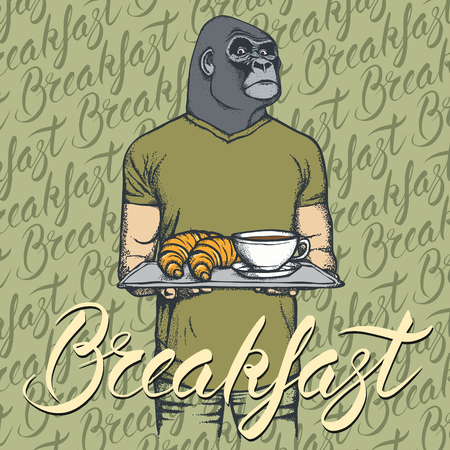 Breakfast vector concept. Illustration of gorilla with croissant and coffee