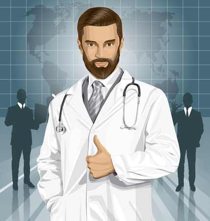 Vector doctor man with stethoscope shows well done Illustration
