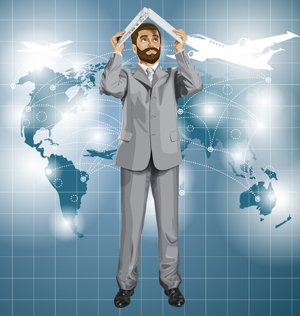 vacation with laptop: Vector business man with beard travel, hides under the laptop in his hands