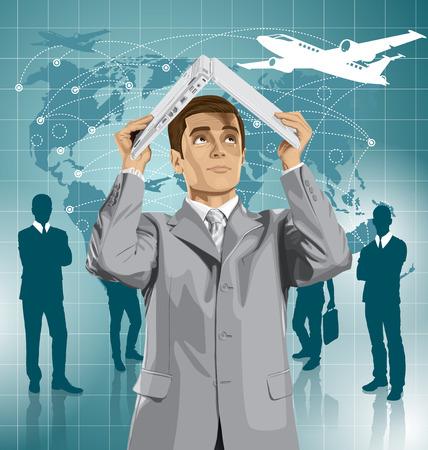 Vector business man hides under the laptop in his hands Ilustração
