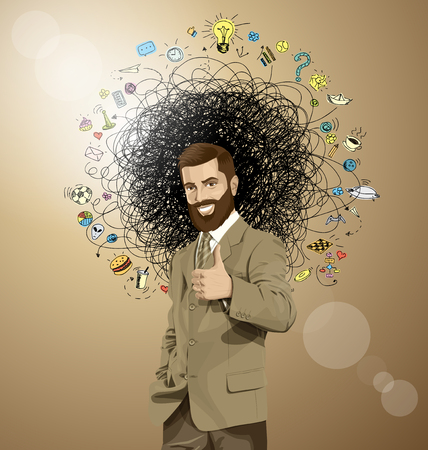Vector hipster business man shows well done photo