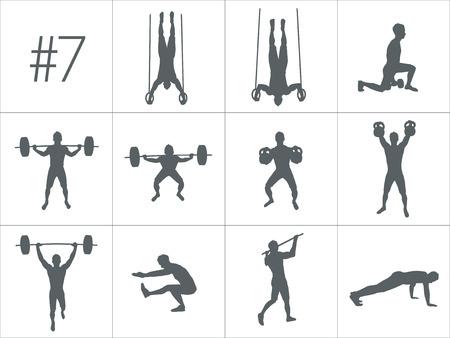 concepto de Crossfit. Vector siluetas de personas que hacen fitness y entrenamientos de CrossFit en muchas posición diferente. concepto de vida activo y saludable Ilustración de vector