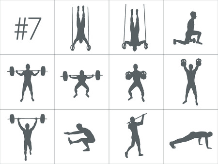 Crossfit のコンセプトです。多くの異なる位置でフィットネスと crossfit トレーニングをやっている人のベクトル シルエット。アクティブで健康的な生