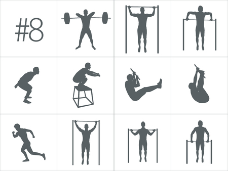 Crossfit concept. Vector silhouettes of people doing fitness and crossfit workouts in many different position. Active and healthy life concept photo