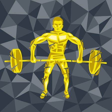 Geometric Crossfit concept. Deadlift push press. Vector silhouette of man doing fitness and crossfit. Active and healthy life concept Ilustração