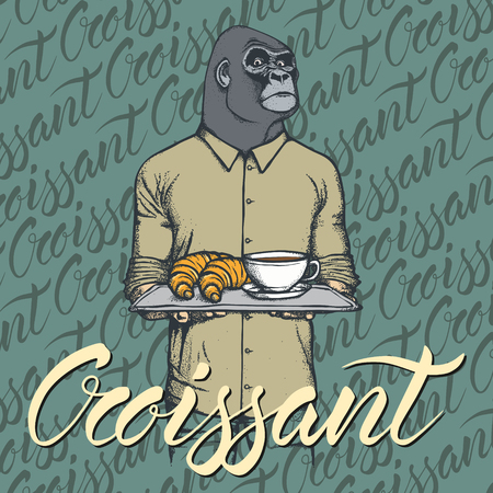 Breakfast vector concept. Illustration of gorilla with croissant and coffee. Illustration