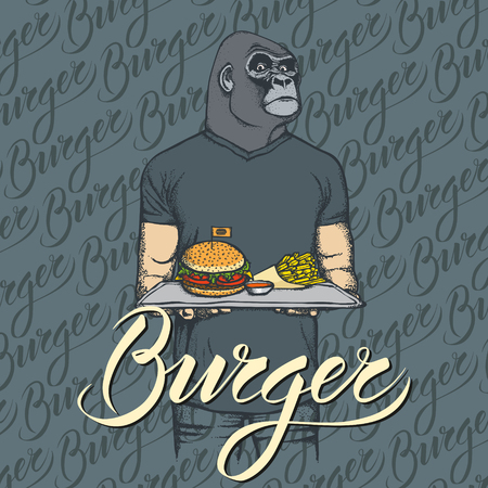 Fast food vector concept. Illustration of gorilla with burger and French fries.