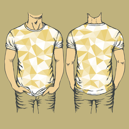A Vector yellow t-shirts templates. Set of yellow templates t-shirts on a cool background.