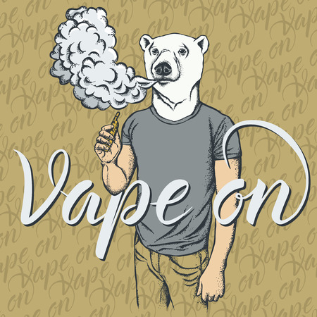 White bear vector vape concept. Bear smoking or vaping an electronic cigarette, in human suit. With inscription vape on