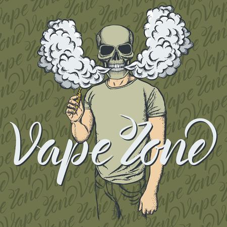 Schedel vector vape-concept. Schedel die of een elektronische sigaret roken vapen, in menselijk kostuum. Met inscriptie vape zone