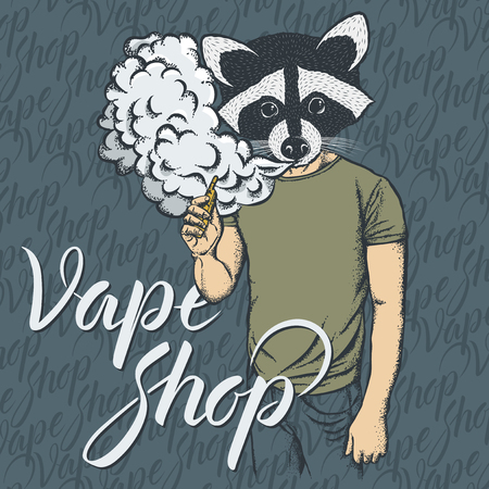 Raccoon vector vape concept. Raccoon smoking or vaping an electronic cigarette, in human suit. With inscription vape shop