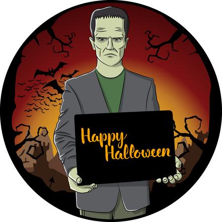 Vector Halloween concept. Monster Frankenstein with blackboard and lettering Happy Halloween