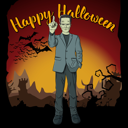Vector Halloween concept. Monster Frankenstein with lettering Happy Halloween Illustration