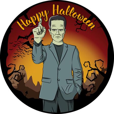 Vector halloween concept. Monster Frankenstein with lettering happy halloween
