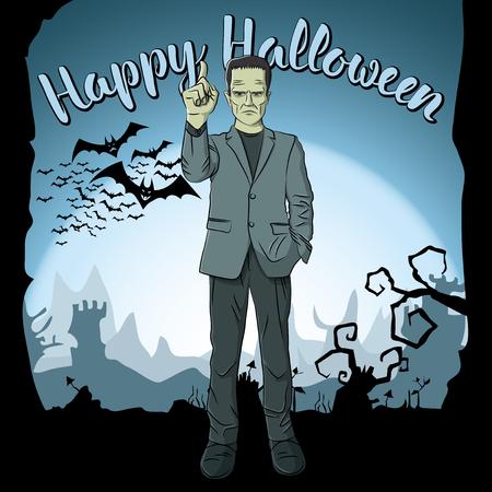 Vector Halloween concept. Monster Frankenstein with lettering Happy Halloween.
