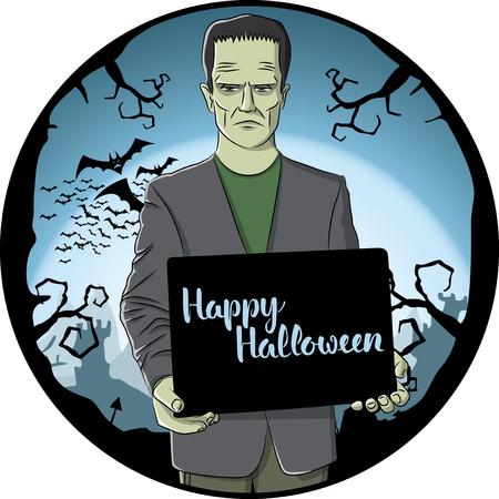 Vector Halloween concept. Monster Frankenstein with blackboard and lettering Happy Halloween.