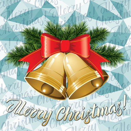 A Vector Christmas bells, decorations and lettering merry Christmas