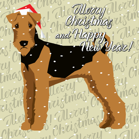 Vector Christmas polygon dog collection. Dog in Christmas Santa hat. Airedale Terrier, vector illustration.