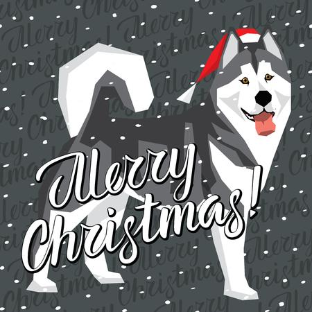 Vector Christmas polygon dog collection. Dog in Christmas Santa hat. Alaskan Malamute, vector illustration.