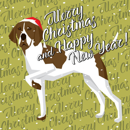 Vector Christmas polygon dog collection. Dog in Christmas Santa hat. English Pointer, vector illustration.