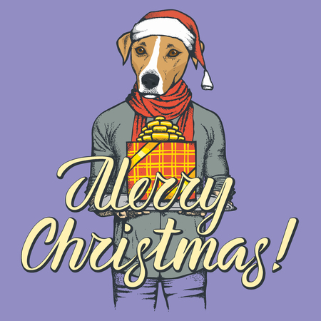 Christmas greeting card with dog head and human bbody design.